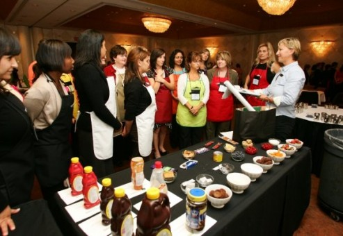 Group of female coworkers in an ice cream cook-off