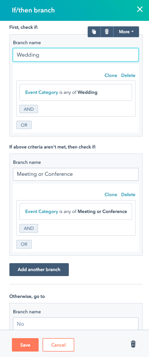 Screenshot of building an If/then branch in HubSpot for Wedding and Meeting or Conference.