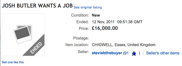 Josh Butler Job Search Listing on EBay