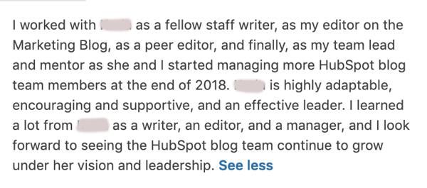 Team Lead LinkedIn Recommendation