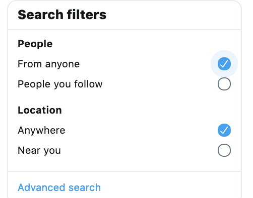 Twitter Advanced Search filters