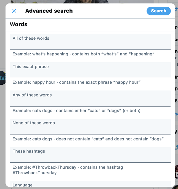 Advanced search menu on Twitter