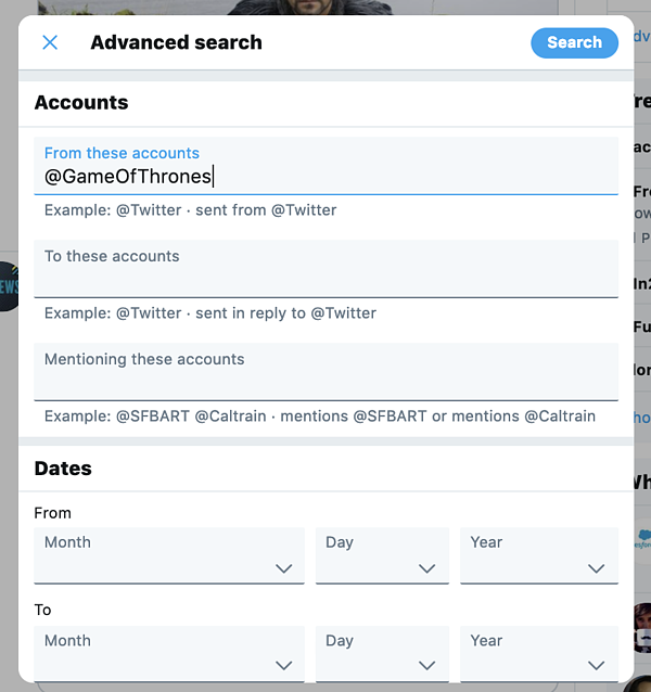 Search Tweets from a Specific account with advanced search on Twitter
