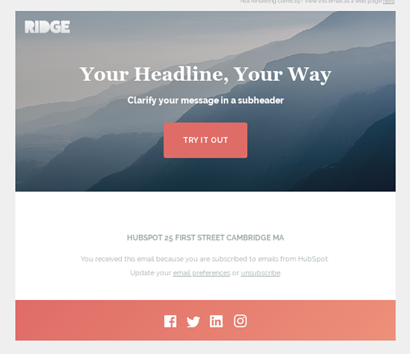 Ridge Marketing email by HubSpot