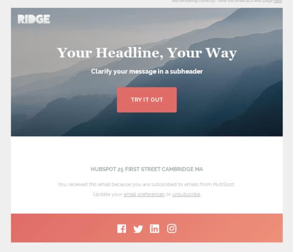 Ridge Marketing email by HubSpot