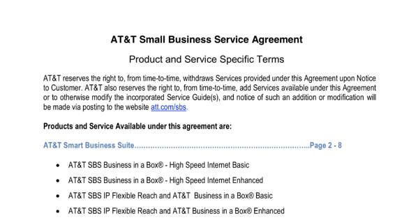 AT&T SLA template