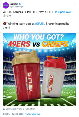 G-Fuel Super Bowl Tweet