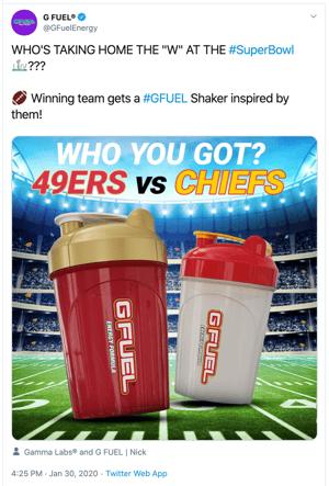 G-Fuel Super Bowl Tweet