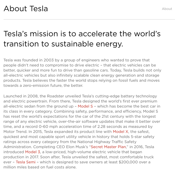 Tesla Company description