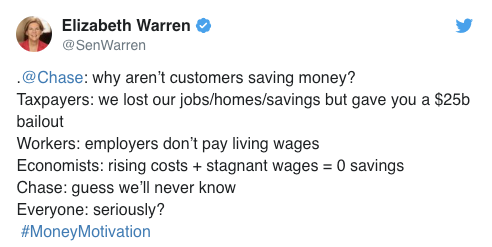 Elizabeth Warren replies to chase fail tweet