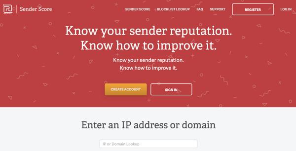 Sender Score IP address tester