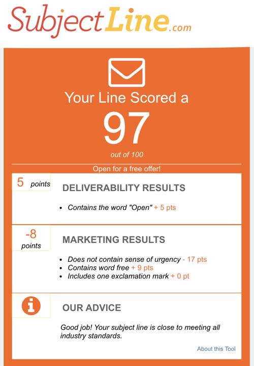 SubjectLine.com subject line scorecard