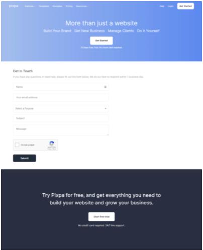 PixPa Contact Us Page
