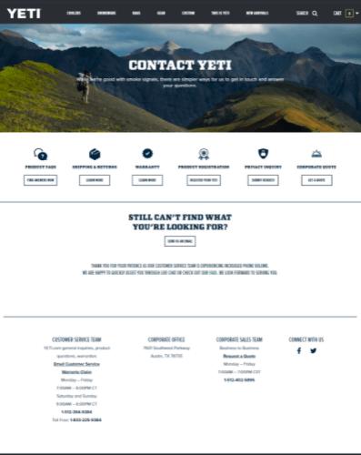 Yeti Contact Us Page