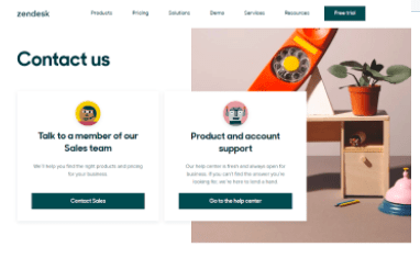 Zendesk Contat Us page