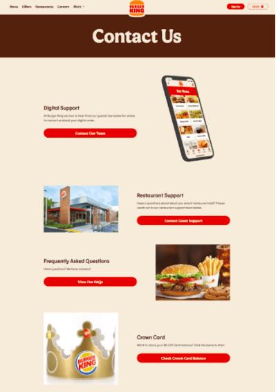 Burger King Contact Us Page