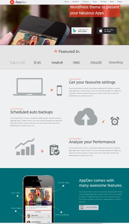 Appdev-wordpress-theme for mobile apps