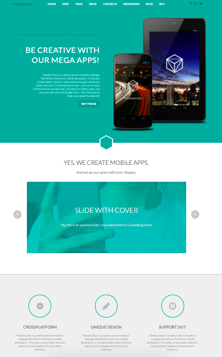 Pandora-Box-WordPress-theme for mobile apps