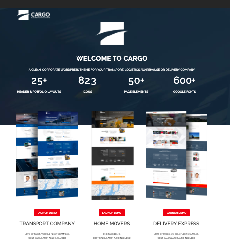Cargo - WordPress logistics and transportation theme
