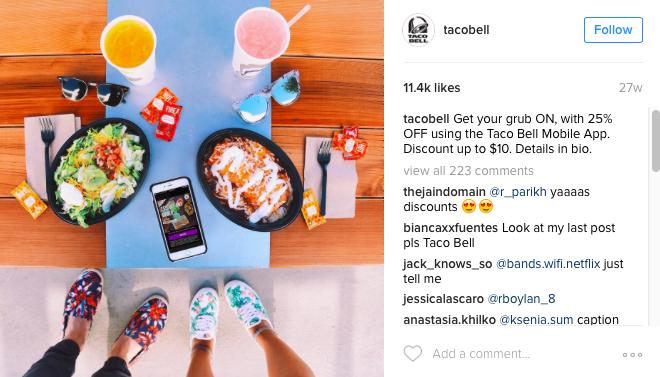 taco bell instagram example