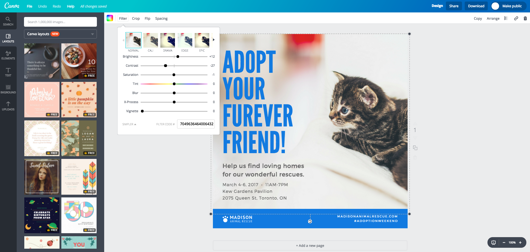 Canva filters