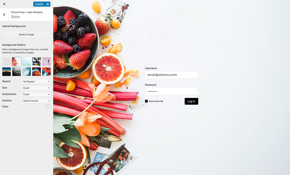 Example of custom login page using Login Designer WordPress plugin