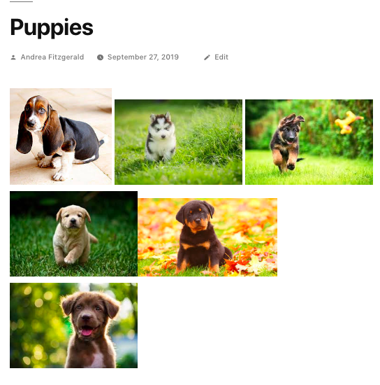 Images in an uneven row without creating WordPress gallery