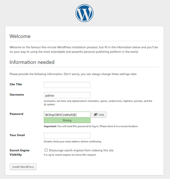 Fill in this form to complete your installation of WordPress