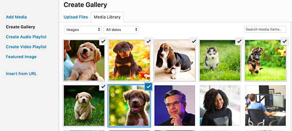 How to select photos from media library for photo gallery in WordPress post