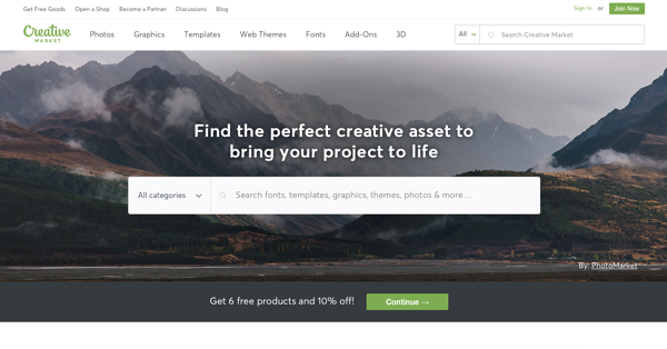 creative market homepage