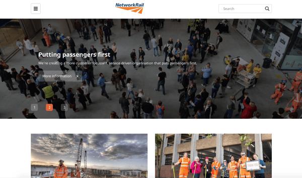 network rail homepage on wordpress