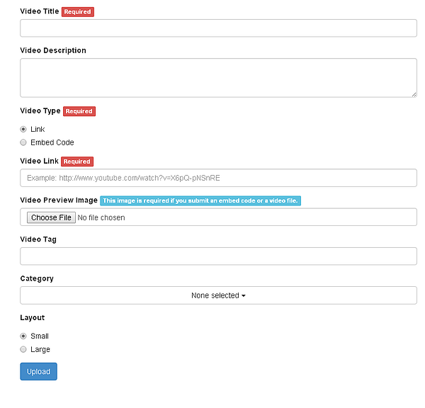 Visitors can submit this form to upload their own videos on your video sharing site with VideoTube plugin