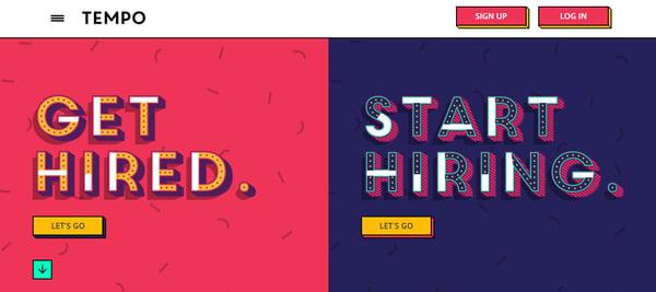 homepage design of Tempo website