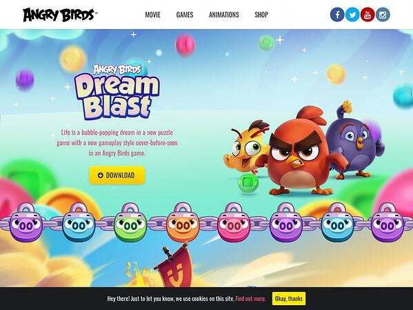 angry birds on wordpress homepage