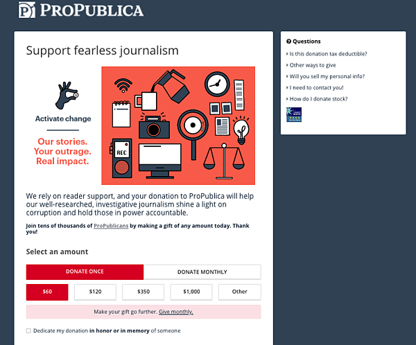 propublica donation page