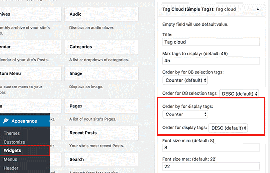The Simple tags plugin provides options to order your tags by popularity and customize their appearance