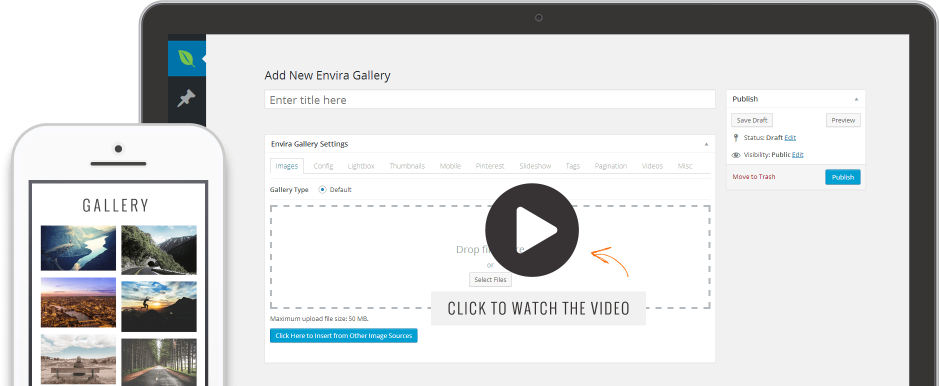 Envira Gallery dashboard in WordPress