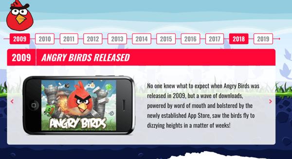 angry birds timeline on wordpress slider widget