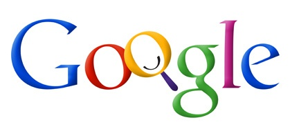 Early iteration of Google logo where the O is a magnifying glass with a smiley face
