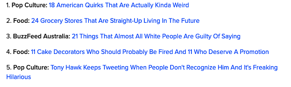 The five most viewed posts on Buzzfeed in 2018