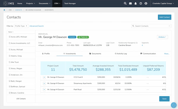 IMS real estate CRM in contacts view with metrics related to an individual client