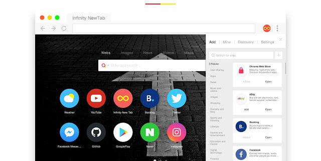 Infinity New Tab Chrome extension