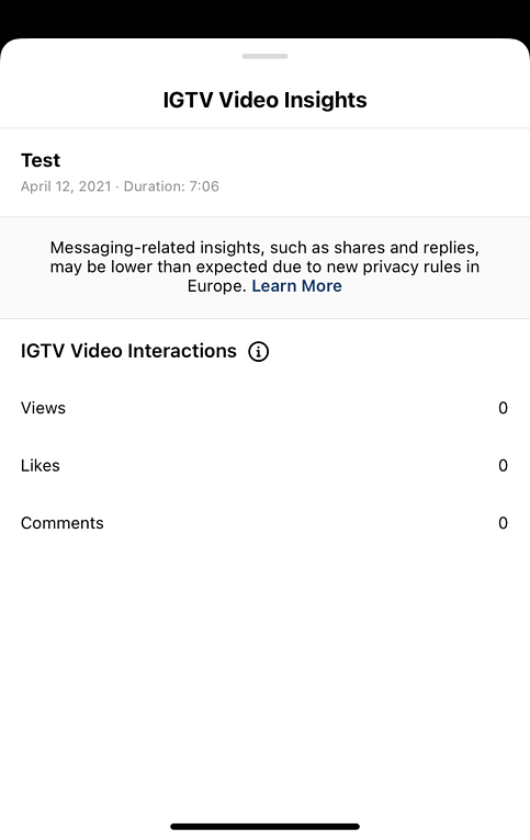 Example of IGTV Video Insights analytics screen