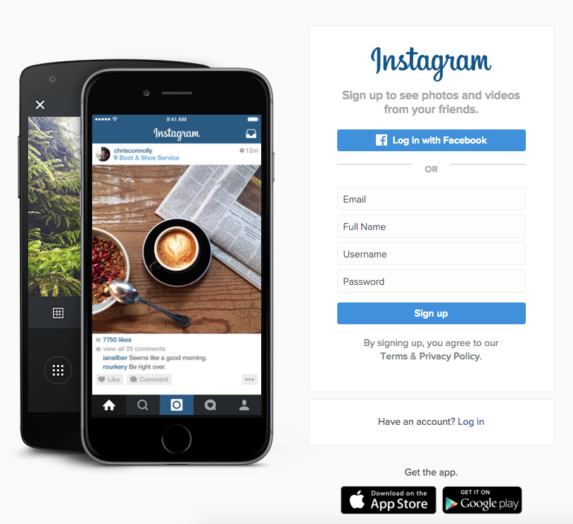 Instagram signup call to action buttons