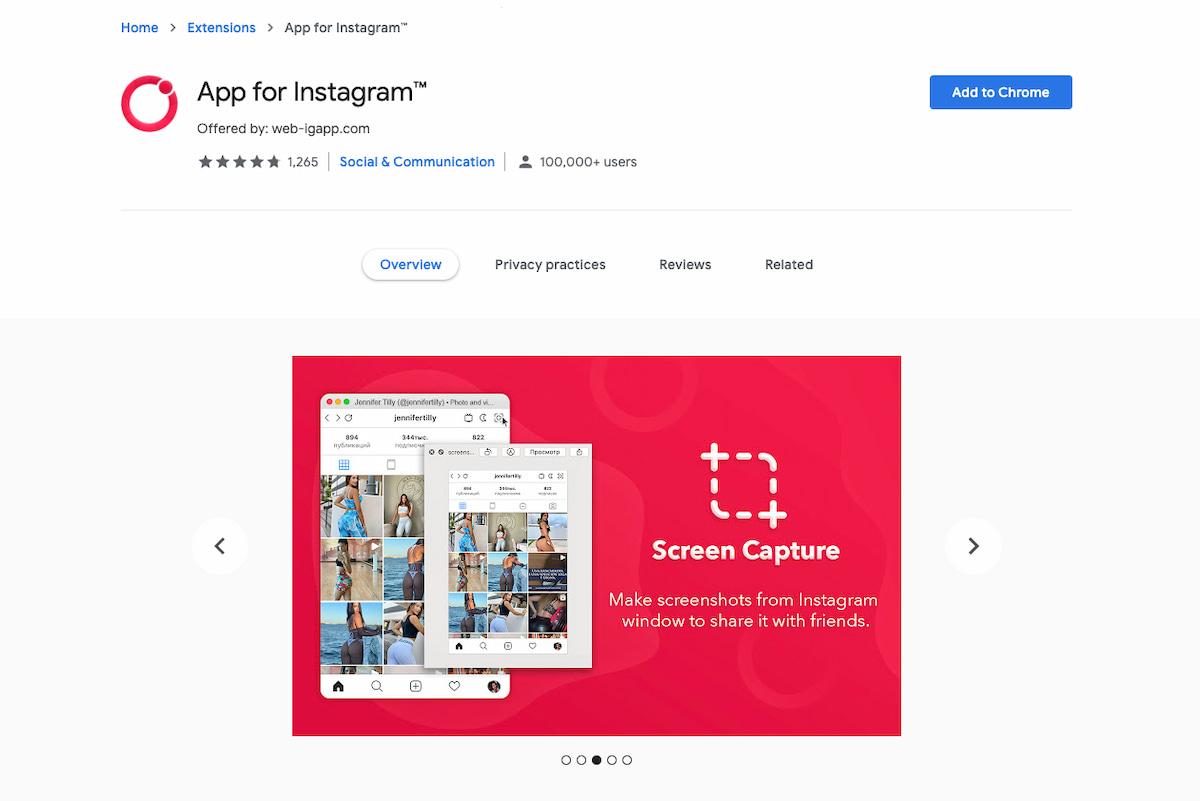 Instagram feed API example: App for Instagram chrome extension