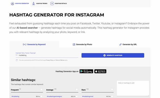 Instagram API example: Inflact hashtag generator