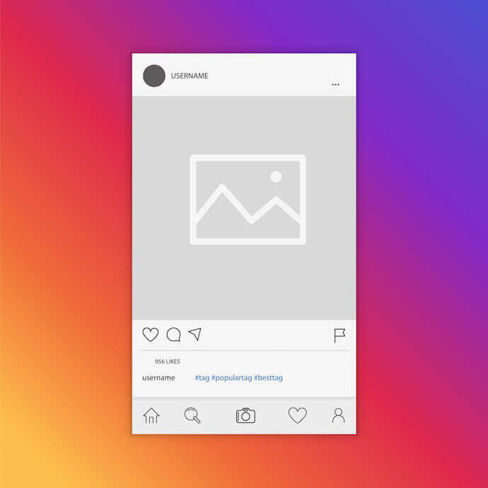 Image post illustration with photo icon showing Instagram image dimensions