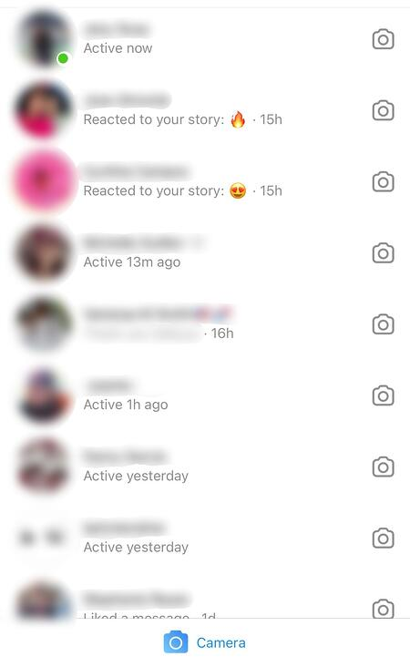 Instagram last online feature in a user's direct messages