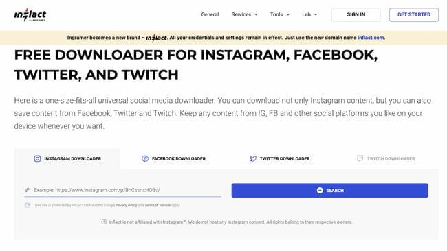 Instagram API example: Inflact Instagram media downloader