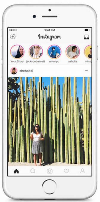 Instagram stories on the app's homepage.